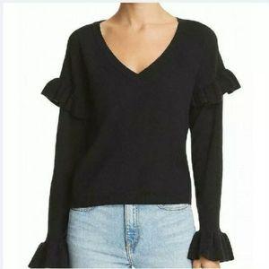 BB Dakota Ruffle Sleeves V-Neck Sweater